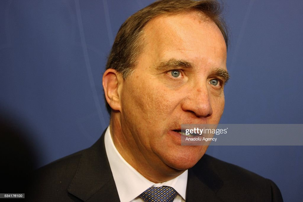 Prime Minister of Sweden Stefan Lofven holds a press conference regarding to cabinet change in Stockholm, Sweden on May 25, 2016.