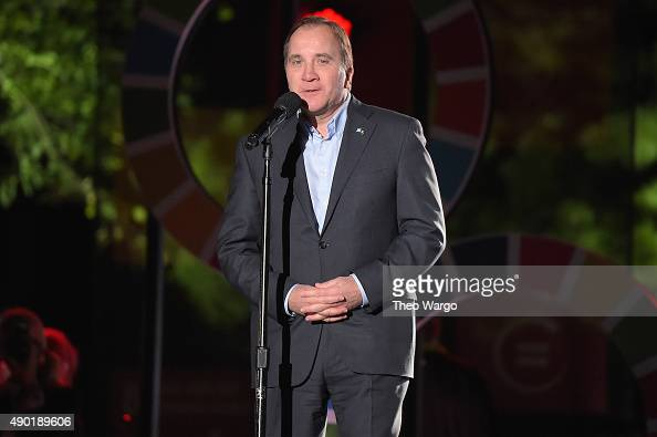 Prime Minister of Sweden Stefan Lofven speaks on stage at the 2015 Global Citizen Festival to end extreme poverty by 2030 in Central Park on...