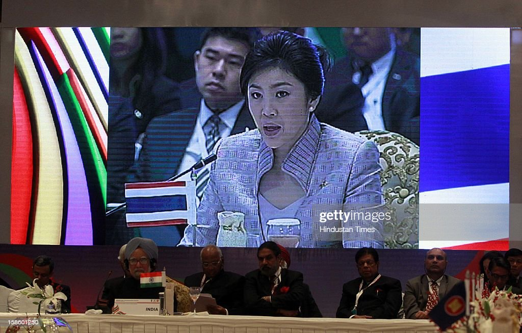 Prime Minister of Thailand Ms. Yingluck Shinawatra address the plenary session of the ASEAN-India Commemorative Summit on December 20, 2012 in New Delhi, India. The free trade agreement in services and investment between India and 10 ASEAN countries was finalised after intense negotiations. It would create one of the world's biggest free trade areas with a market of around 1.8 billion people and a combined gross domestic product of $2.8 trillion.