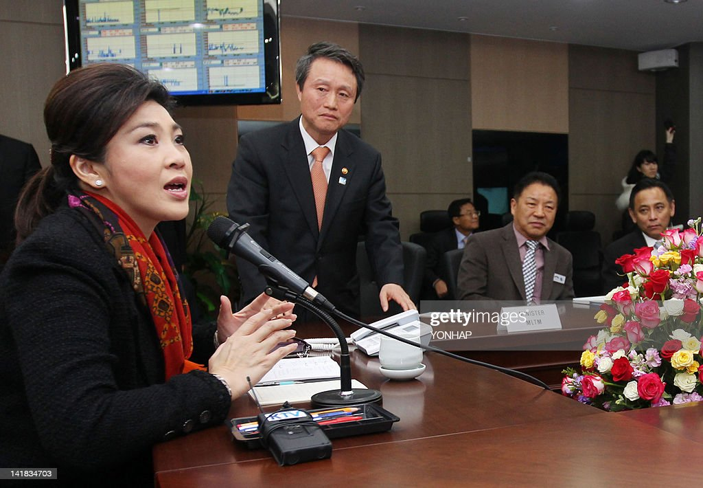 Prime Minister of Thailand Yingluck Shinawatra (L) gestures during a meeting with officials at The Han River Flood Control Office in Seoul on March 25, 2012, ahead of the 2012 Seoul Nuclear Security Summit. World leaders including US President Barack Obama will on March 26, launch a summit on the threat from nuclear-armed terrorists, but the atomic ambitions of North Korea and Iran are set to feature heavily.