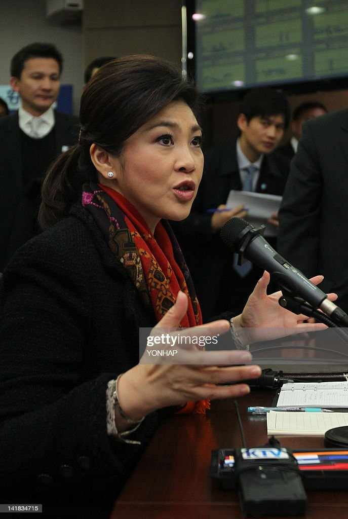 Prime Minister of Thailand Yingluck Shinawatra gestures during a meeting with officials at The Han River Flood Control Office in Seoul on March 25, 2012, ahead of the 2012 Seoul Nuclear Security Summit. World leaders including US President Barack Obama will on March 26, launch a summit on the threat from nuclear-armed terrorists, but the atomic ambitions of North Korea and Iran are set to feature heavily.