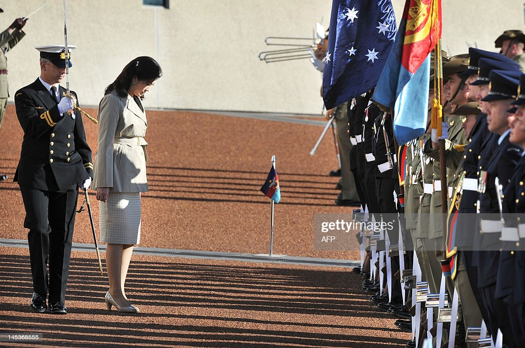 Prime Minister of Thailand Yingluck Shinawatra inspects the Federation Guard during a welcoming ceremony at the Parliament House in Canberra on May...