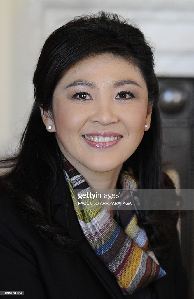 Prime Minister of Thailand Yingluck Shinawatra poses for a photograph at Number10 Downing Street in London on November 14, 2012. Yingluck Shinawatra is on an official visit to Britain during which she has met with Queen Elizabeth II and Prime Minister David Cameron.