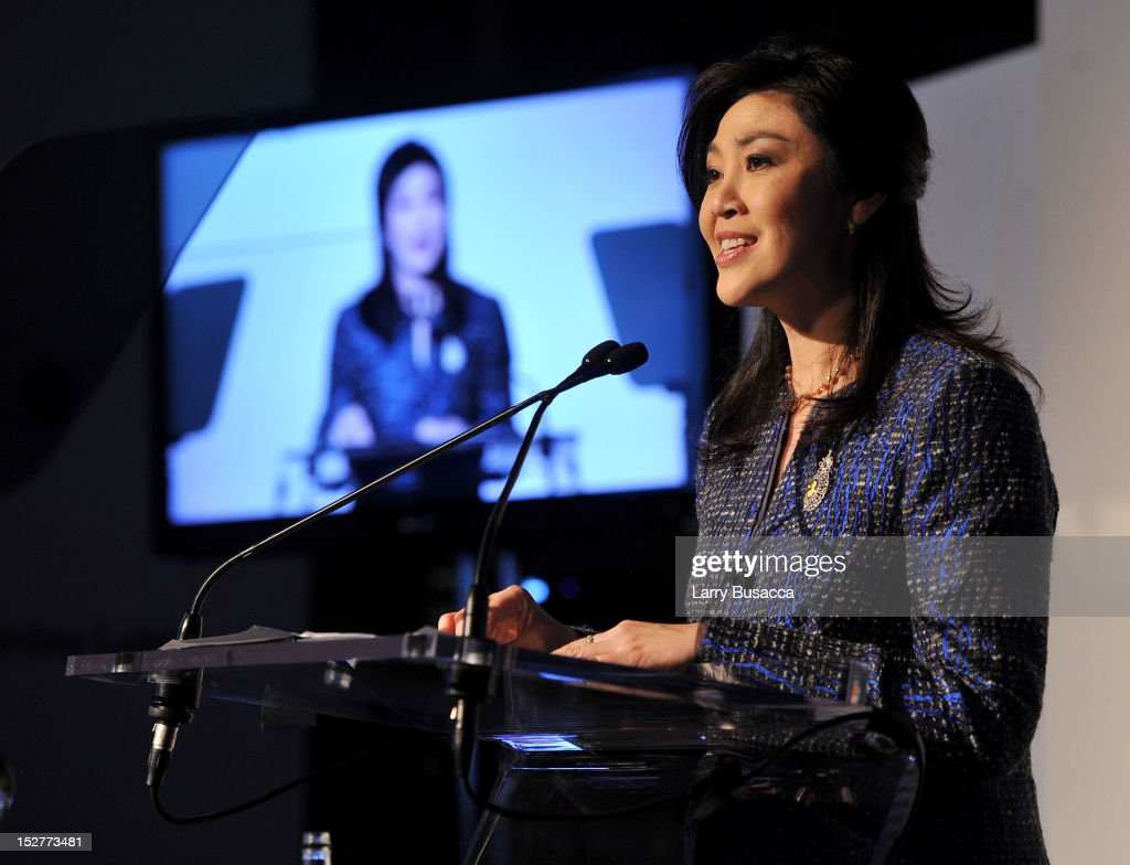 Prime Minister of Thailand <a gi-track='captionPersonalityLinkClicked' href=/galleries/search?phrase=Yingluck+Shinawatra&family=editorial&specificpeople=787330 ng-click='$event.stopPropagation()'>Yingluck Shinawatra</a> speaks onstage at the United Nations Every Woman Every Child Dinner 2012 on September 25, 2012 in New York, United States.