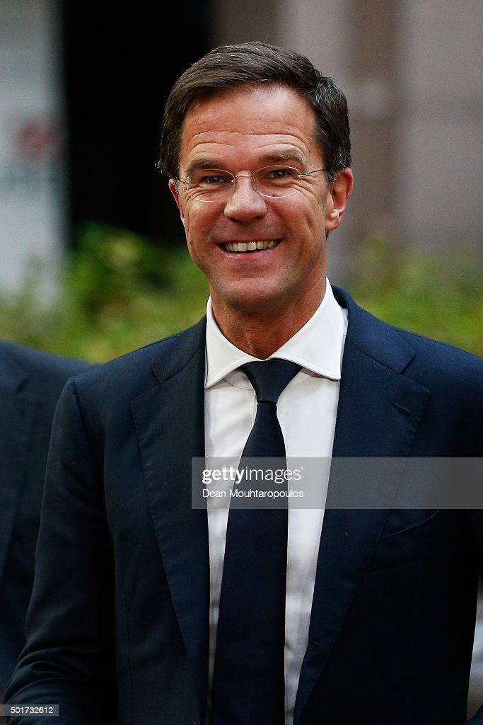 Prime Minister of the Netherlands Mark Rutte arrives for The European Council Meeting In Brussels held at the Justus Lipsius Building on December 17...