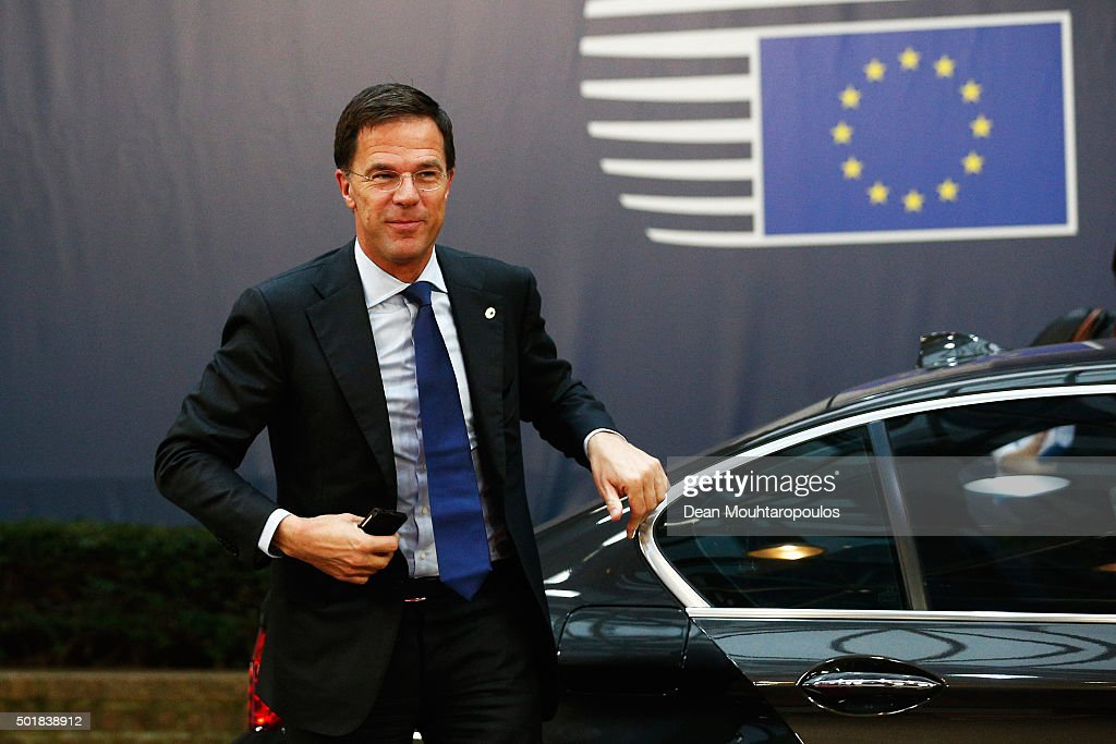 Prime Minister of the Netherlands Mark Rutte arrives for The European Council Meeting In Brussels held at the Justus Lipsius Building on December 18...