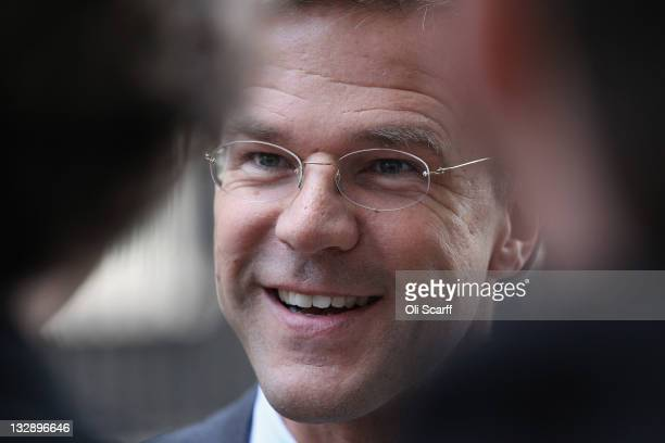 Prime Minister of the Netherlands Mark Rutte arrives in Downing Street on November 15 2011 in London England Mr Rutte and the Dutch trade delegation...