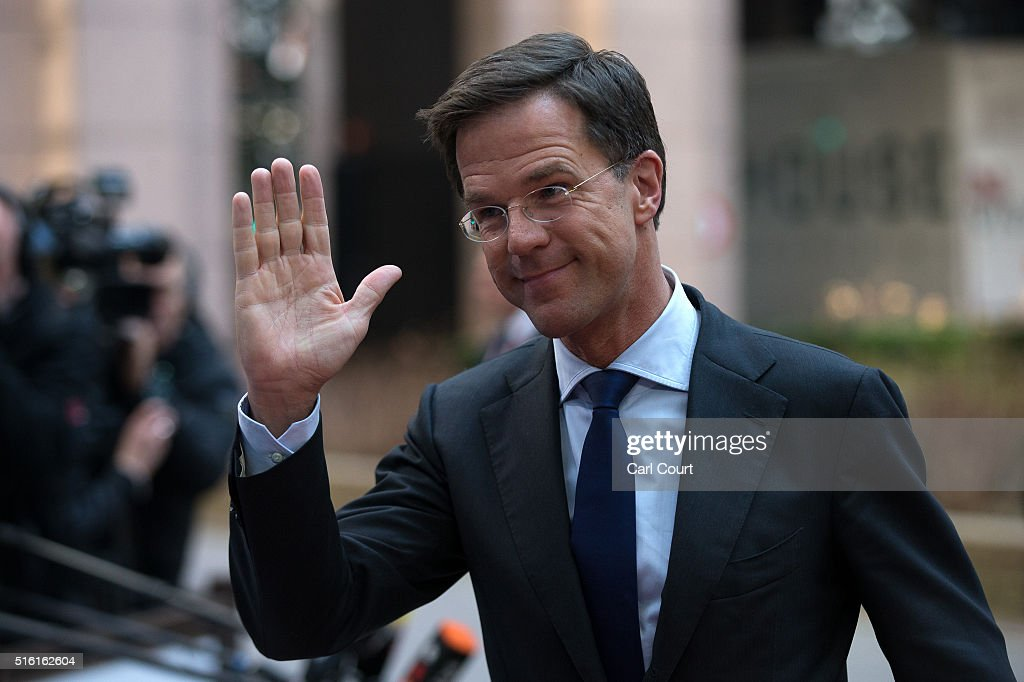 Prime Minister of the Netherlands Mark Rutte arrives on the first day of an EU summit at the Council of the European Union on March 17 2016 in...