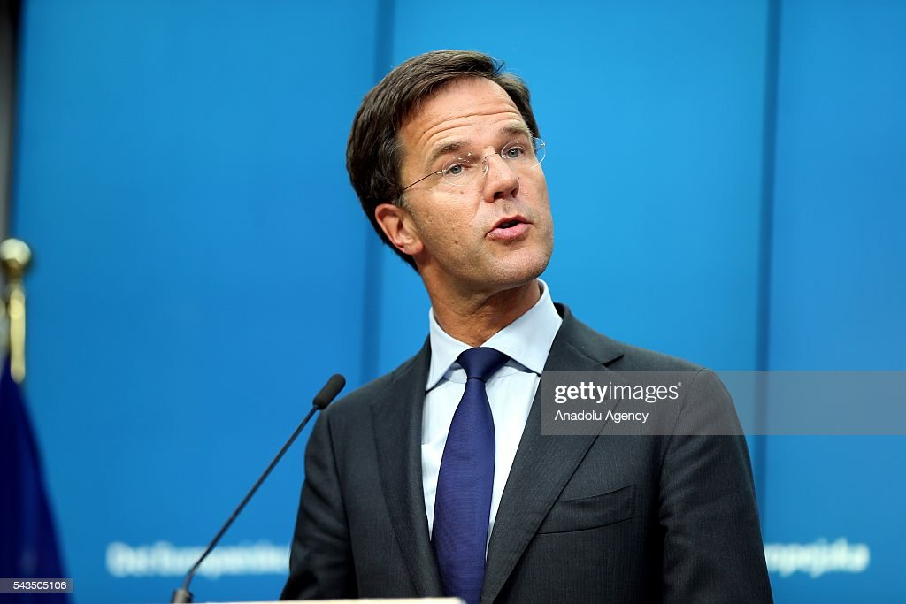 Prime Minister of the Netherlands Mark Rutte holds a press conference after EU summit meeting on June 28, 2016 in Brussels, Belgium.