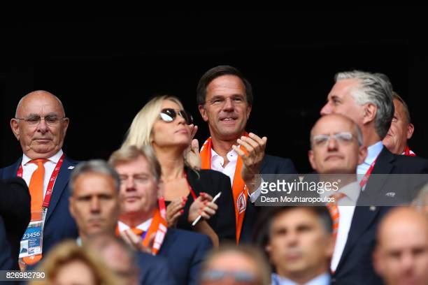 Prime Minister of The Netherlands Mark Rutte looks on during the Final of the UEFA Women's Euro 2017 between Netherlands v Denmark at FC Twente...