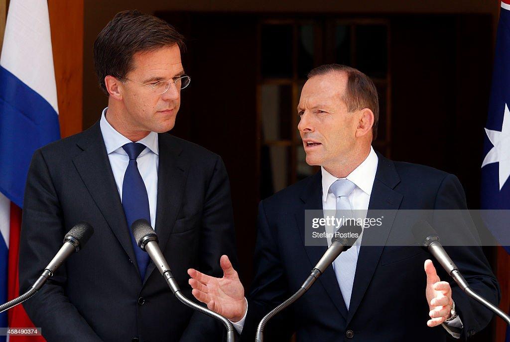 Maurits Hendriks Netherlands Prime Minister Mark Rutte L: Dutch Prime Minister Rutte Visits Australia For MH17