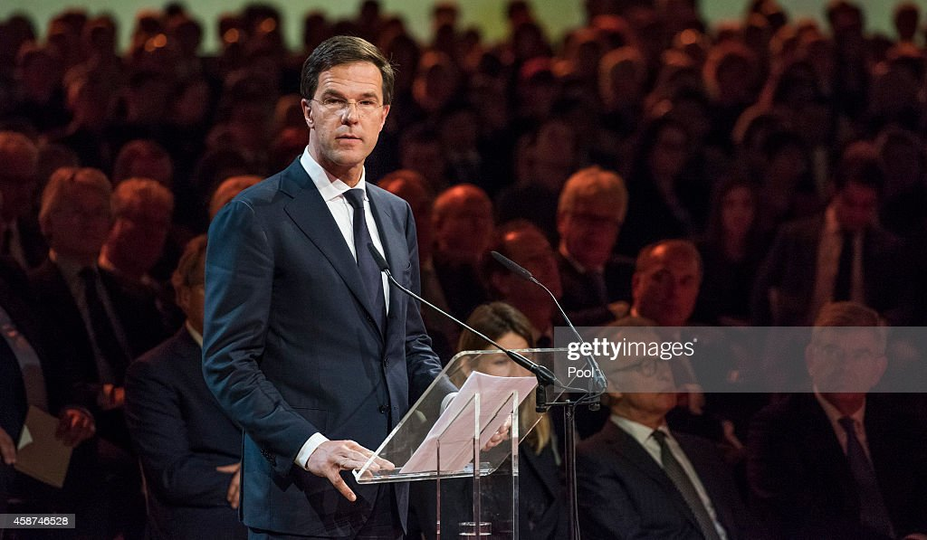 Prime Minister of the Netherlands Mark Rutte speaks during a national commemoration ceremony for relatives and friends of the victims of the Malaysia Airlines Flight 17 disaster at RAI on November 10, 2014 in Amsterdam, Netherlands. Hundreds of grieving family members and friends are gathering in Amsterdam for a national commemoration ceremony nearly four months after the passenger jet was downed over eastern Ukraine killing all 298 people on board. The Boeing 777 was downed July 17 while flying from Amsterdam to Kuala Lumpur.