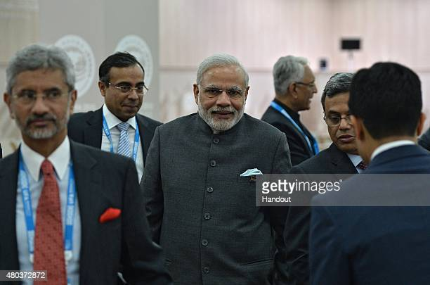 Prime Minister of the Republic of India Narendra Modi after the signing of joint documents following the SCO Heads of State Council Meeting during...