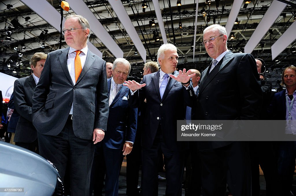 Prime Minister of the State of Lower Saxony Stephan Weil (L), Wolfgang Porsche and Volkswagen Group CEO Martin Winterkorn arrive for the Volkswagen annual general shareholders' meeting on May 5, 2015 in Hanover, Germany. Winterkorn recently won out in a power struggle against VW Group Chairman Ferdinand Piech, who stepped down afterwards and, along with his wife, quit his position on the VW supervisory board. Volkswagen Group, with its 12 brands, is Germany's biggest carmaker.