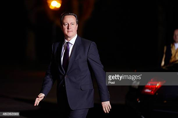 Prime Minister of the United Kingdom David Cameron arrives at Huis ten Bosch for a dinner for delagates gathering for the Nuclear Security Summit...