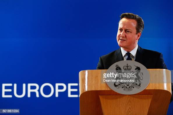 Prime Minister of the United Kingdom David Cameron speaks to the media after The European Council Meeting In Brussels held at the Justus Lipsius...