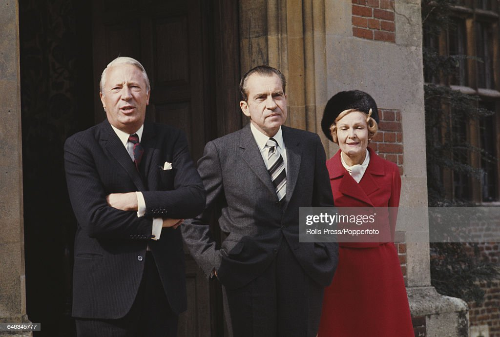 Prime Minister of the United Kingdom Edward Heath pictured left with President of the United States Richard Nixon and his wife Pat Nixon at Chequers...