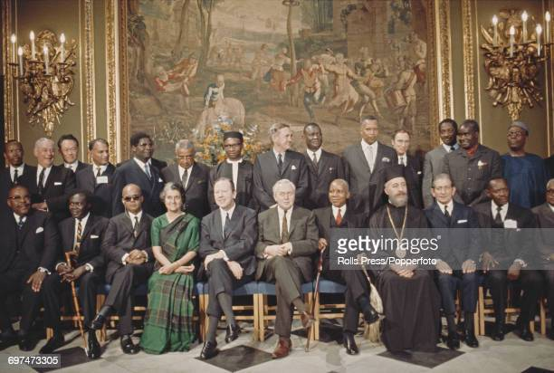 Prime Minister of the United Kingdom Harold Wilson pictured front row centre with fellow Heads of Government of the Commonwealth of Nations at the...