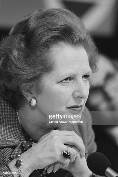 Prime Minister of the United Kingdom Margaret Thatcher pictured at a Conservative Party general election press conference in London on 20th May 1983
