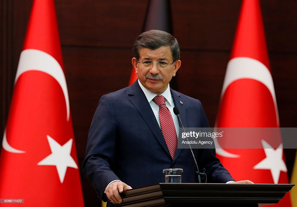 Prime Minister of Turkey Ahmet Davutoglu and German Chancellor Angela Merkel (not seen) hold a joint press conference following their meeting in Ankara, Turkey on February 8, 2016.