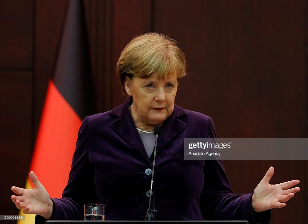Prime Minister of Turkey Ahmet Davutoglu (not seen) and German Chancellor Angela Merkel hold a joint press conference following their meeting in Ankara, Turkey on February 8, 2016.