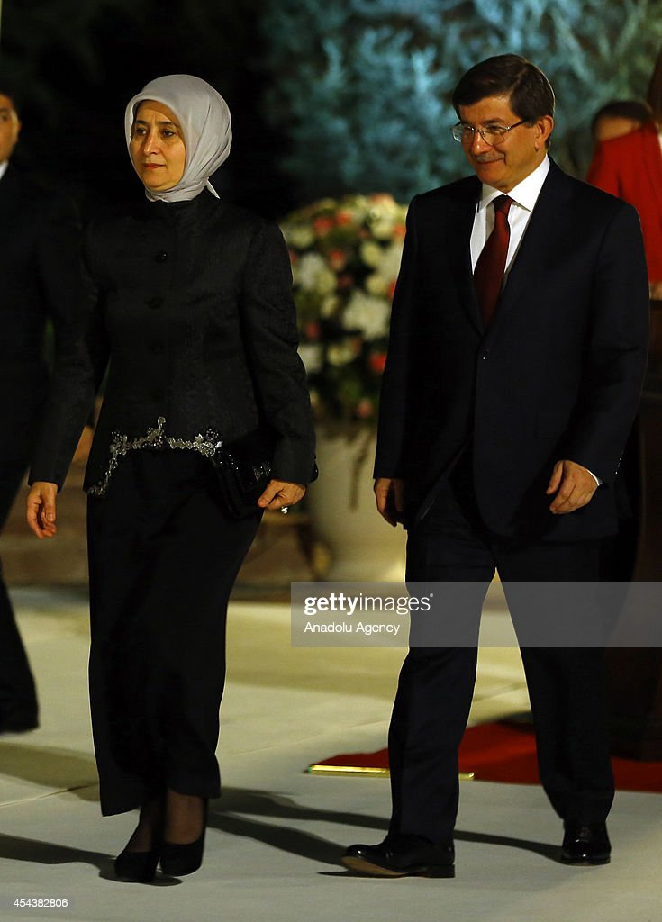 Prime Minister of Turkey Ahmet Davutoglu and his wife Sare Davutoglu arrive to Cankaya Palace for 30 August Victory Day reception hosted by President...