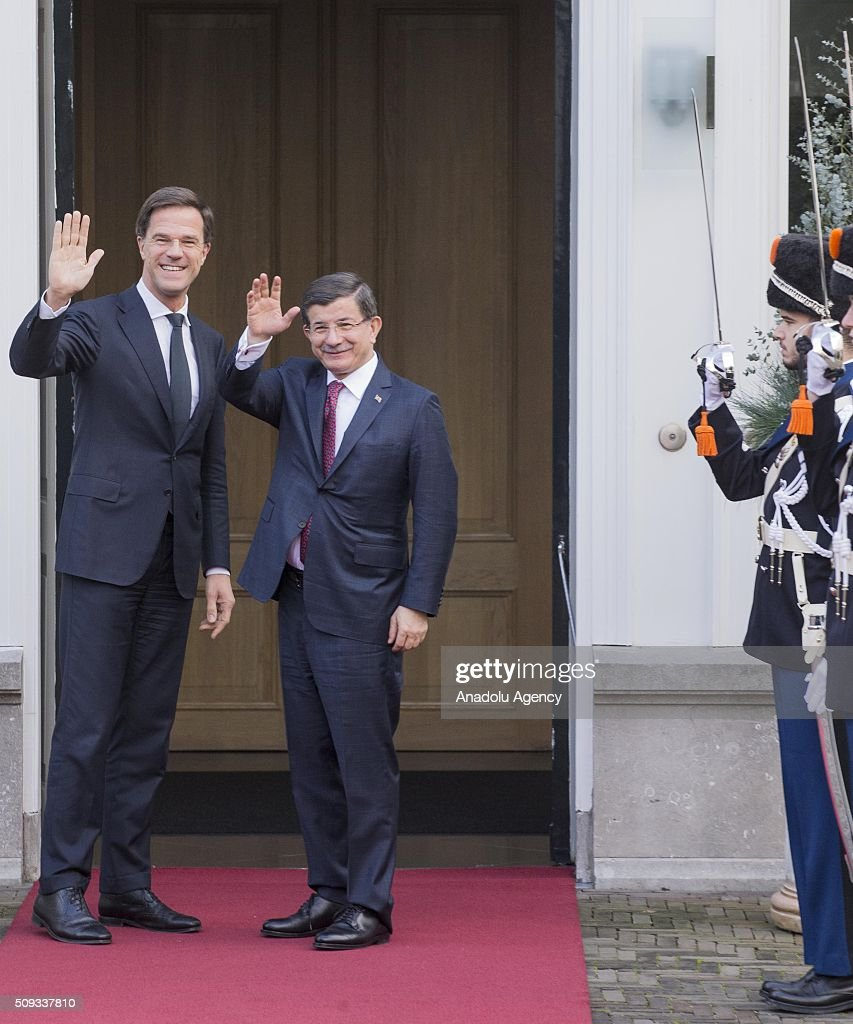 Prime Minister of Turkey, Ahmet Davutoglu (L) and Prime Minister of Netherlands, Mark Rutte (R) meet at the Catshuis in The Hague Netherlands on February 10, 2016.