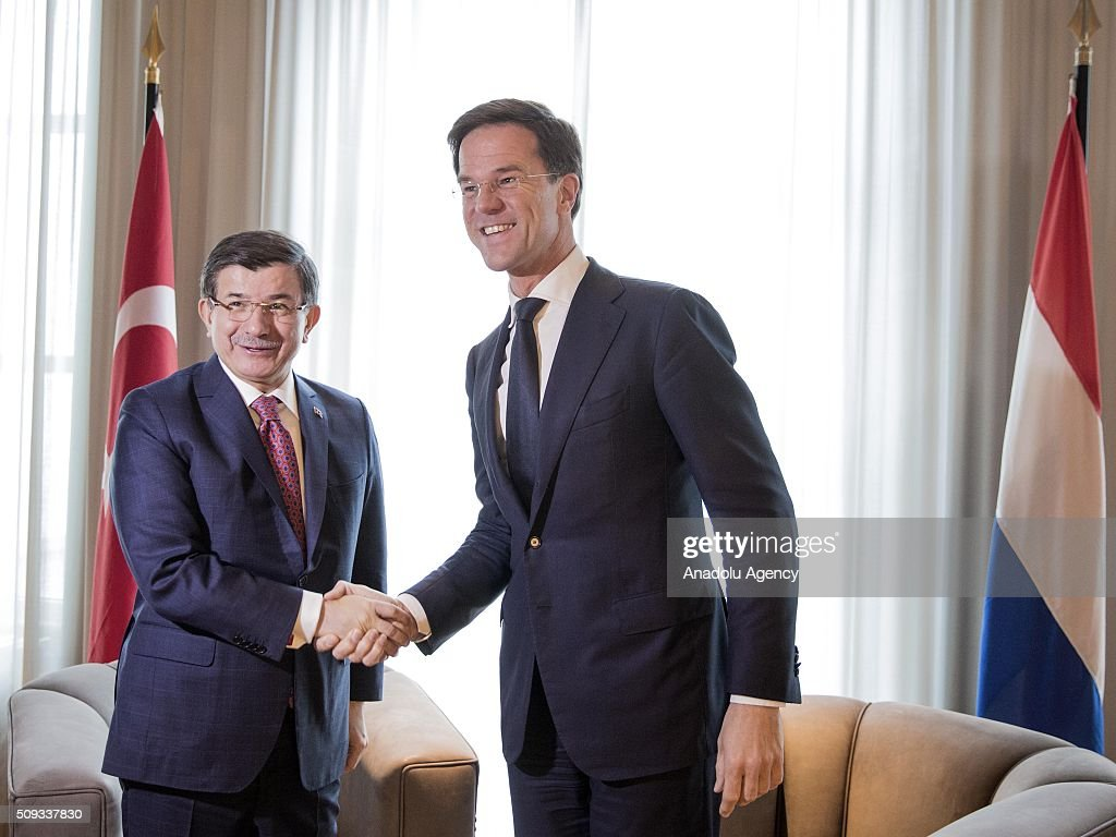 Prime Minister of Turkey, Ahmet Davutoglu (L) and Prime Minister of Netherlands, Mark Rutte (R) shake hands as they meet at the Catshuis in The Hague Netherlands on February 10, 2016.