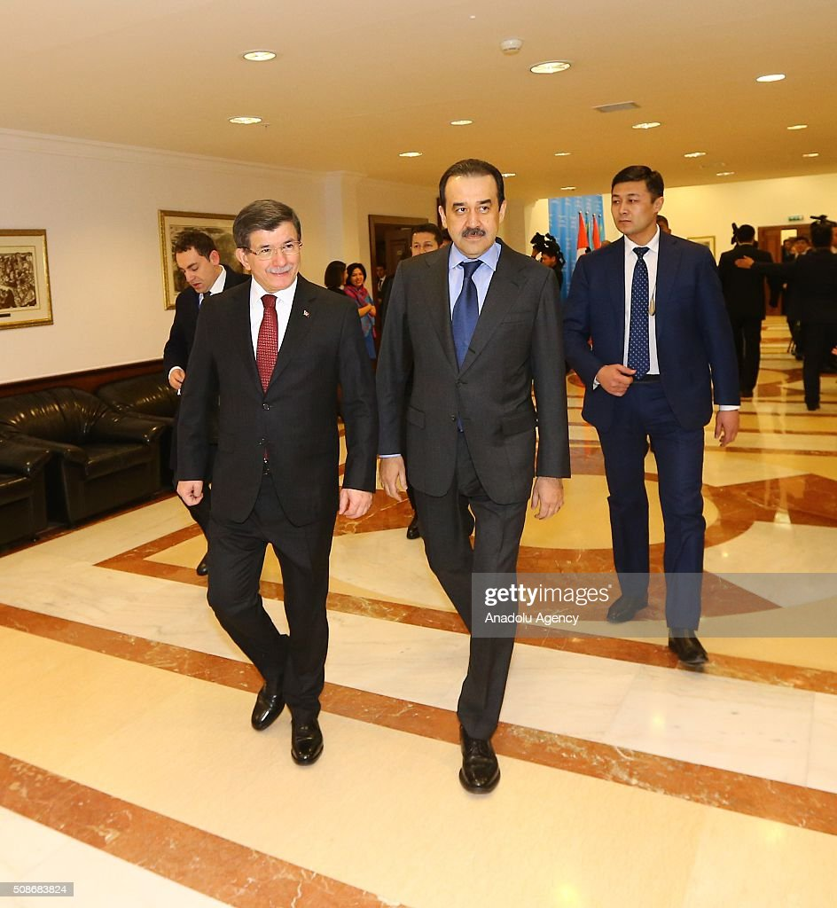 Prime Minister of Turkey Ahmet Davutoglu (L) meets with Prime Minister of Kazakhstan Karim Massimov in Astana, Kazakhstan on February 6, 2016.