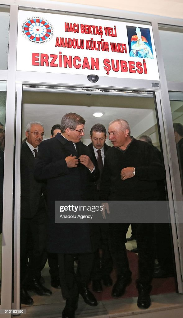 Prime Minister of Turkey, Ahmet Davutoglu (L) visits Haci Bektai Veli Anadolu Cultural Foundation where also hosts a 'Cemevi' in Erzincan, Turkey on February 14, 2016. Cemevi is a holy place where Alawites, a branch of Islam, gathers and pray.