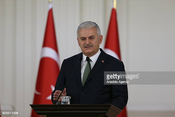 Prime Minister of Turkey Binali Yildirim addresses a speech to the teachers from 81 different cities of the country during a lunch organized within...