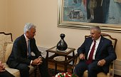 Prime Minister of Turkey Binali Yildirim and British Minister of State for Europe and the Americas Alan Duncan meet at Grand National Assembly of...