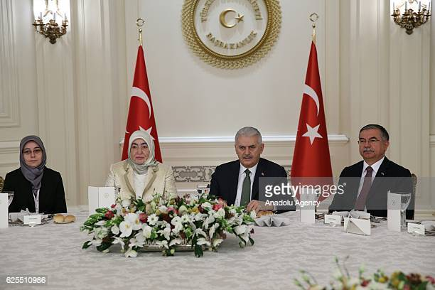 Prime Minister of Turkey Binali Yildirim and his wife Semiha Yildirim Turkish Minister of Education Ismet Yilmaz attend a lunch with the teachers...
