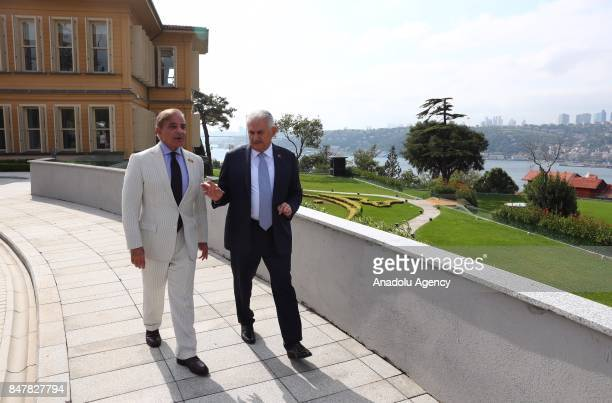 Prime Minister of Turkey Binali Yildirim and Pakistani Chief Minister of Punjab Shehbaz Sharif take a tour at Vahdettin Mansion in Istanbul Turkey on...