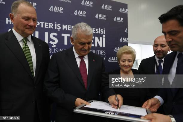Prime Minister of Turkey Binali Yildirim attends the opening ceremony of Alp Aviation at Chamber of Industry Organized Industrial Zone in Eskisehir...