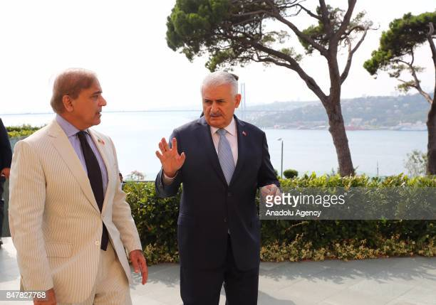Prime Minister of Turkey Binali Yildirim chats with Pakistani Chief Minister of Punjab Shehbaz Sharif during their meeting at Vahdettin Mansion in...