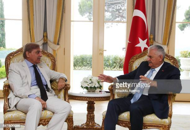 Prime Minister of Turkey Binali Yildirim meets Pakistani Chief Minister of Punjab Shehbaz Sharif at Vahdettin Mansion in Istanbul Turkey on September...