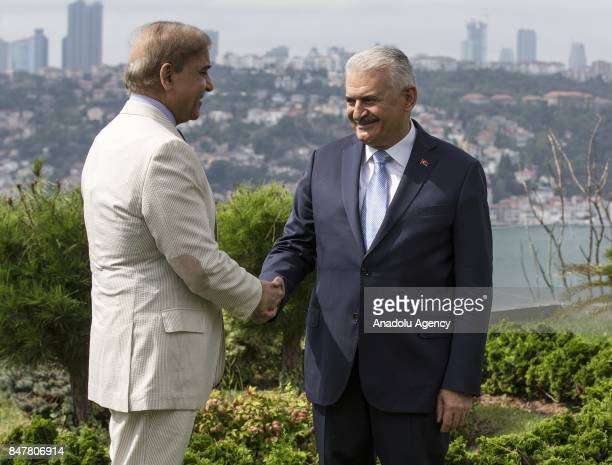 Prime Minister of Turkey Binali Yildirim shakes hands with Pakistani Chief Minister of Punjab Shehbaz Sharif at Vahdettin Mansion in Istanbul Turkey...