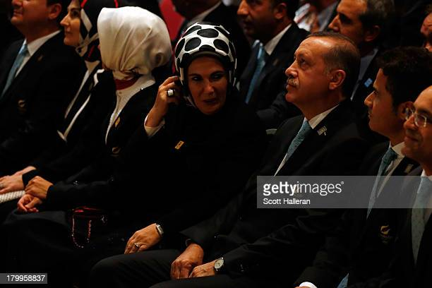 Prime Minister of Turkey Recep Tayyip Erdogan and wife Ermine look despondent as Tokyo is awarded the 2020 Summer Olympic Gamesduring the 125th IOC...