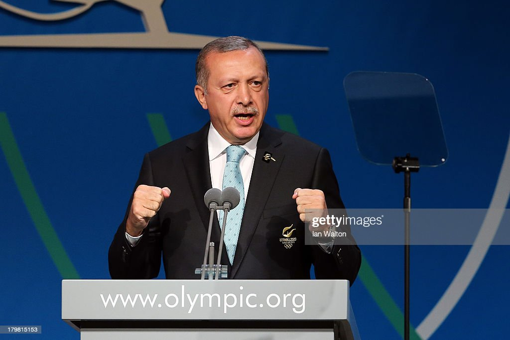 Prime Minister of Turkey, <a gi-track='captionPersonalityLinkClicked' href=/galleries/search?phrase=Recep+Tayyip+Erdogan&family=editorial&specificpeople=213890 ng-click='$event.stopPropagation()'>Recep Tayyip Erdogan</a> speaks during the Istanbul 2020 bid presentation during the 125th IOC Session - 2020 Olympics Host City Announcement at Hilton Hotel on September 7, 2013 in Buenos Aires, Argentina.