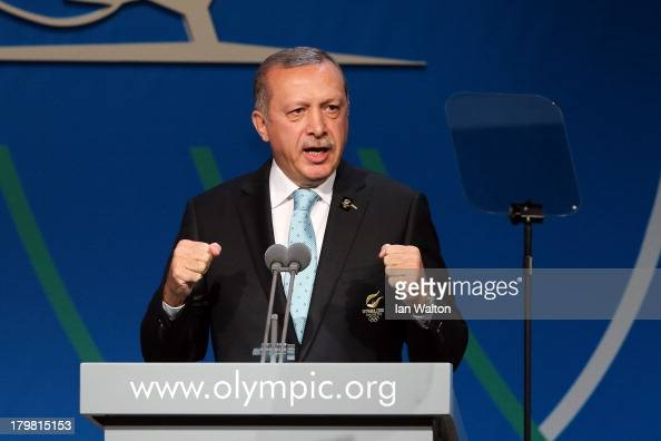 Prime Minister of Turkey Recep Tayyip Erdogan speaks during the Istanbul 2020 bid presentation during the 125th IOC Session 2020 Olympics Host City...