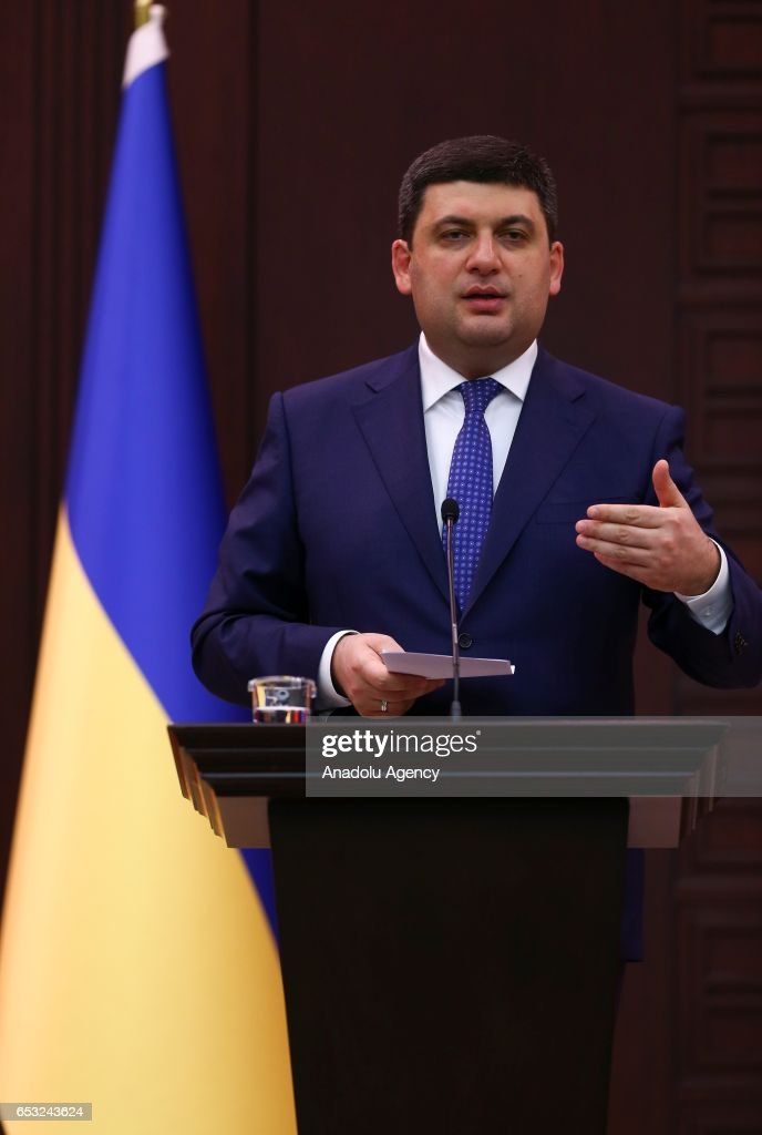 Prime Minister of Ukraine Volodymyr Groysman and Turkish Prime Minister Binali Yildirim (not seen) hold a joint press conference in Ankara, Turkey on March 14, 2017.