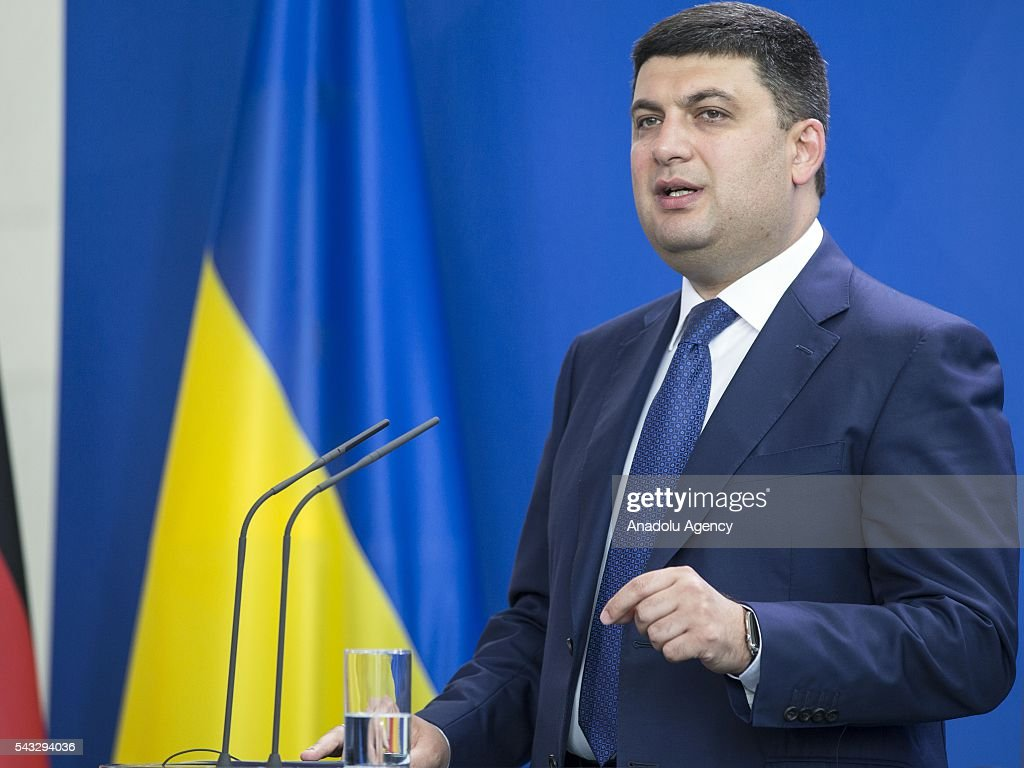 Prime Minister of Ukraine Volodymyr Groysman delivers a speech during a press conference after his meeting with German Chancellor Angela Merkel (not seen) at the Prime Minister's office in Berlin, Germany on June 27, 2016.