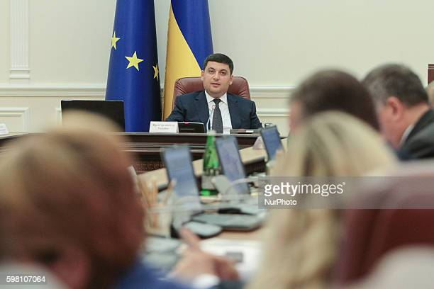 Prime Minister of Ukraine VOLODYMYR GROYSMAN is seen the meeting of Government The Government of Ukraine supported the Concept of the State program...