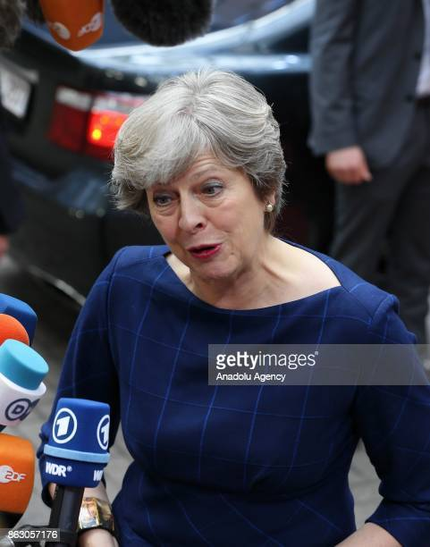 Prime Minister of United Kingdom Theresa May speaks to press ahead of the European Council Meeting at the Council of the European Union building on...