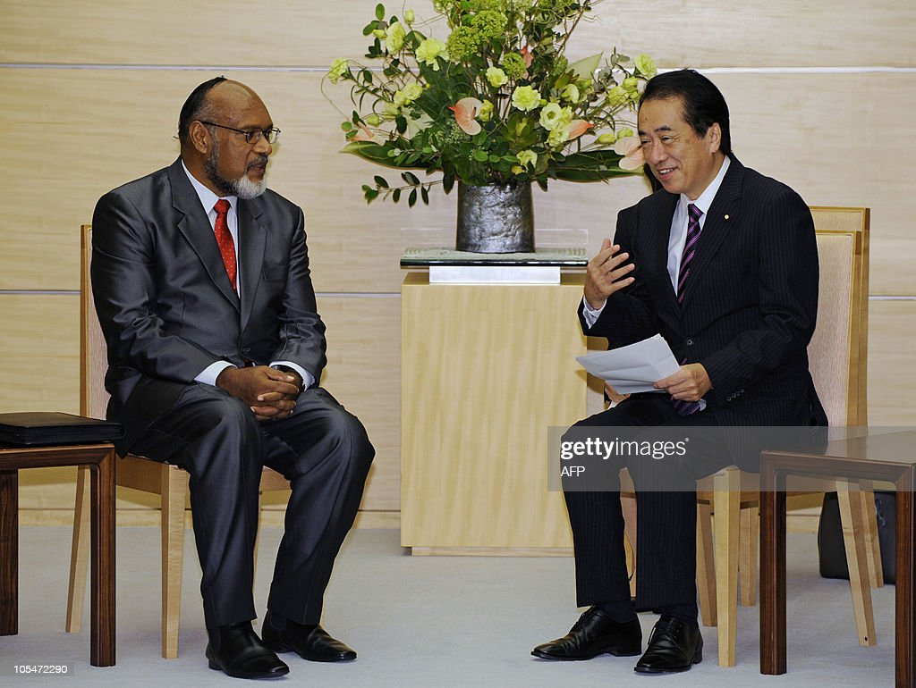 Prime Minister of Vanuatu and Chairman of the Pacific Islands Forum (PIF) <a gi-track='captionPersonalityLinkClicked' href=/galleries/search?phrase=Edward+Natapei&family=editorial&specificpeople=3057010 ng-click='$event.stopPropagation()'>Edward Natapei</a> (L) holds talks with Japanese Prime Minister <a gi-track='captionPersonalityLinkClicked' href=/galleries/search?phrase=Naoto+Kan&family=editorial&specificpeople=697761 ng-click='$event.stopPropagation()'>Naoto Kan</a> (R) at the prime minister's official residence in Tokyo on October 15, 2010. Natapei leads a delegation of foreign ministers or equivalent from 14 member countries and 2 regions of the PIF during their visit to Japan.