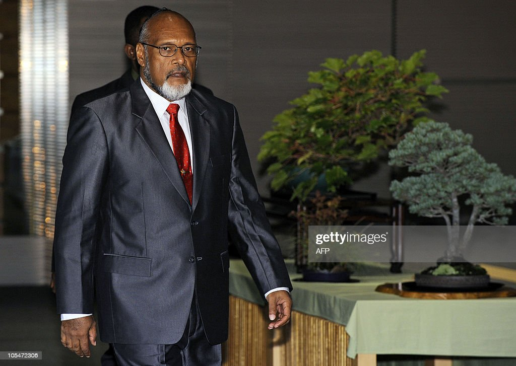 Prime Minister of Vanuatu and Chairman of the Pacific Islands Forum (PIF) <a gi-track='captionPersonalityLinkClicked' href=/galleries/search?phrase=Edward+Natapei&family=editorial&specificpeople=3057010 ng-click='$event.stopPropagation()'>Edward Natapei</a> arrives for a meeting with Japanese Prime Minister Naoto Kan at the prime minister's official residence in Tokyo on October 15, 2010. Natapei leads a delegation of foreign ministers or equivalent from 14 member countries and 2 regions of the PIF during their visit to Japan.