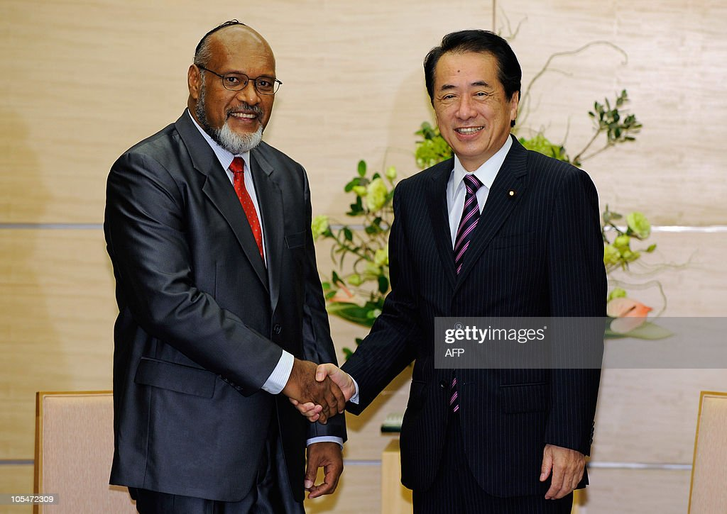 Prime Minister of Vanuatu and Chairman of the Pacific Islands Forum (PIF) <a gi-track='captionPersonalityLinkClicked' href=/galleries/search?phrase=Edward+Natapei&family=editorial&specificpeople=3057010 ng-click='$event.stopPropagation()'>Edward Natapei</a> (L) shakes hands with Japanese Prime Minister <a gi-track='captionPersonalityLinkClicked' href=/galleries/search?phrase=Naoto+Kan&family=editorial&specificpeople=697761 ng-click='$event.stopPropagation()'>Naoto Kan</a> (R) at the prime minister's official residence in Tokyo on October 15, 2010. Natapei leads a delegation of foreign ministers or equivalent from 14 member countries and 2 regions of the PIF during their visit to Japan.