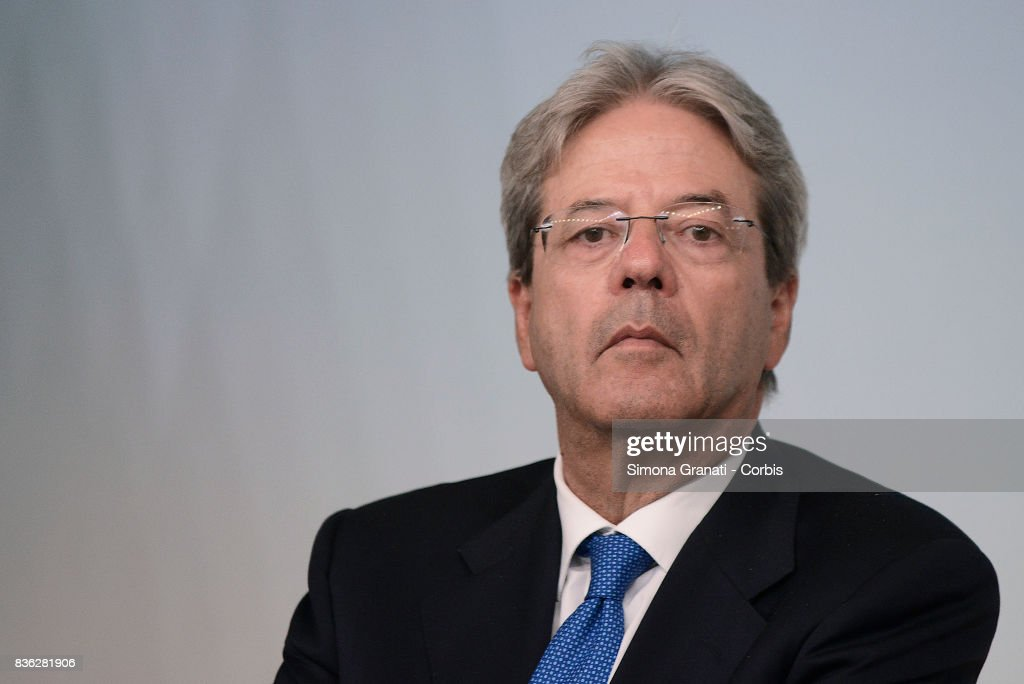 Prime Minister Paolo Gentiloni during a press conference at Palazzo Chigi on a year-long reconstruction of the first shakes, on August 21, 2017 in Rome, Italy.
