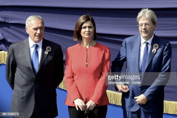 Prime Minister Paolo Gentiloni President of Senate Pietro Grasso President of Chamber of Deputies Laura Boldrini during the celebration of the 71st...
